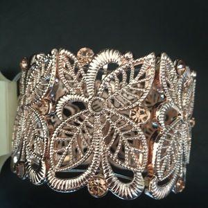 "BADGLEY Mischka Reticulated Gold 2"" Wide Bracelet"